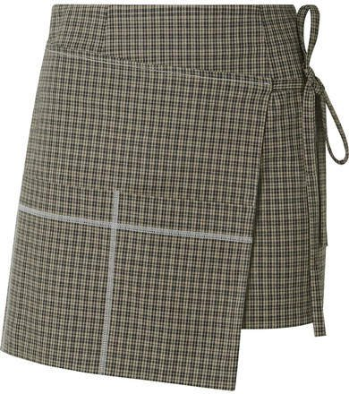 Checked Cotton-blend Wrap Mini Skirt - Mushroom