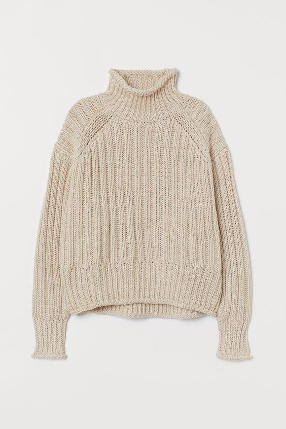 Rib-knit Turtleneck Sweater - Light beige - Ladies   H&M US