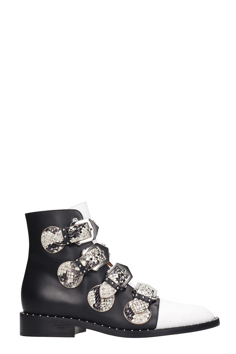 Givenchy Elegant Fl Ankle Boots In Black Leather