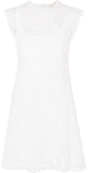 Crocheted Lace Mini Dress - White