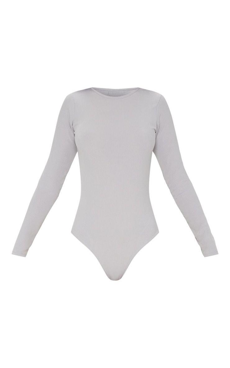 Grey Rib Scoop Neck Bodysuit | Tops | PrettyLittleThing