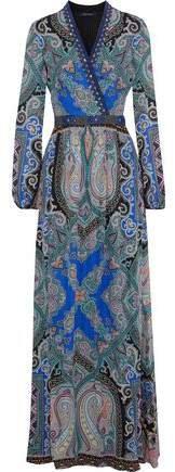 Embellished Printed Silk Crepe De Chine Maxi Dress