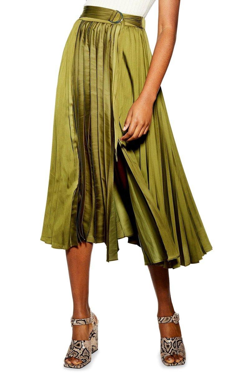 Topshop Pleated Satin Midi Skirt | Nordstrom