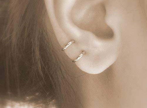 Amazon.com: hoops - small hoop earrings for cartilage earings for women tiny endless gold hypoallergenic hoop earrings: Handmade
