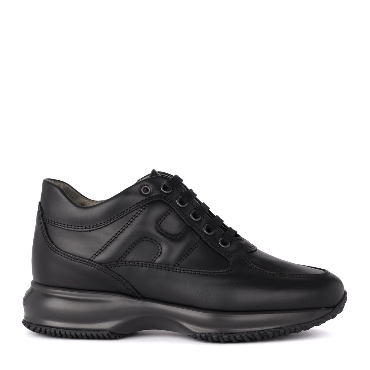 Hogan Interactive Black Leather Sneaker