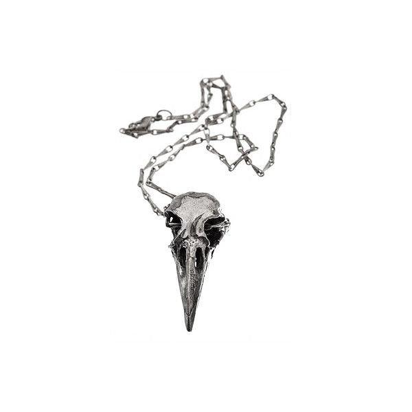 Silver Crow Skull Necklace