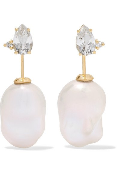 Mizuki | 14-karat gold, pearl and diamond earrings | NET-A-PORTER.COM