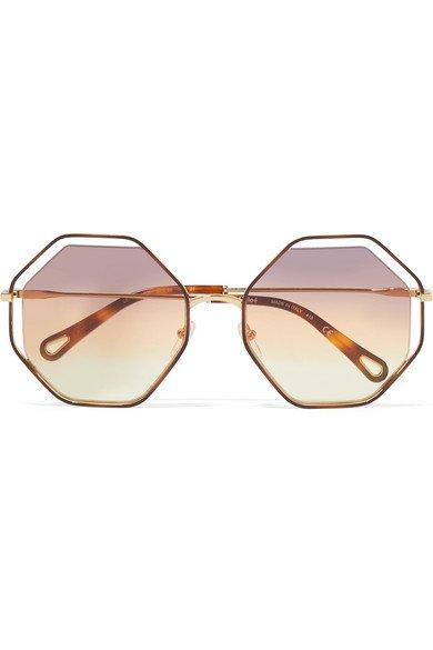 Chloé | Poppy octagon-frame gold-tone and tortoiseshell acetate sunglasses | NET-A-PORTER.COM
