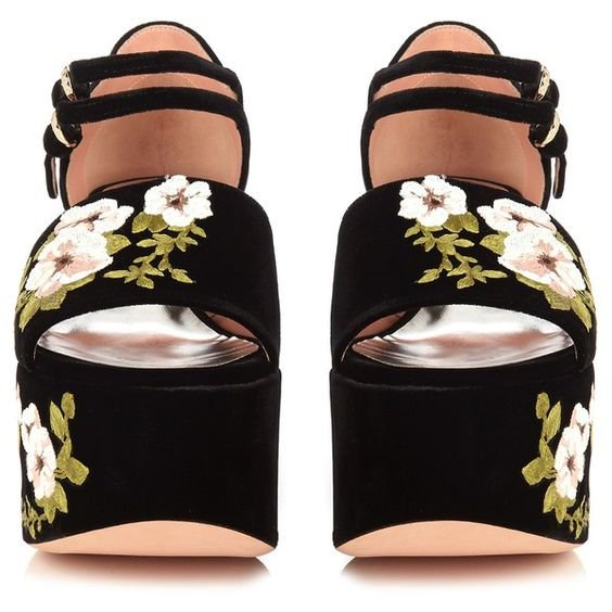 Floral-embroidered velvet platform sandals Rochas MATCHESFASHION.COM ($845)