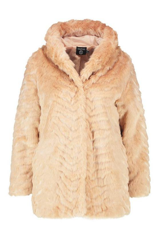 Plus Faux Fur Hooded Longline Coat | Boohoo