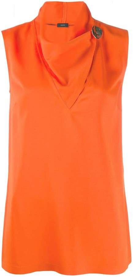 cowl-neck sleeveless top