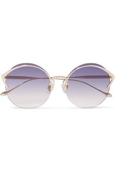 For Art's Sake | Margarita round-frame faux pearl-embellished gold-tone sunglasses | NET-A-PORTER.COM