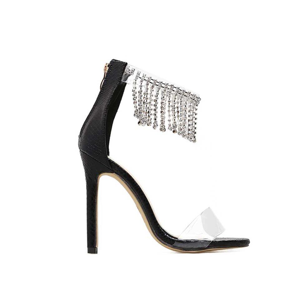 JESSICABUURMAN – KAYMO Fringed Diamante PVC And Leather Sandals