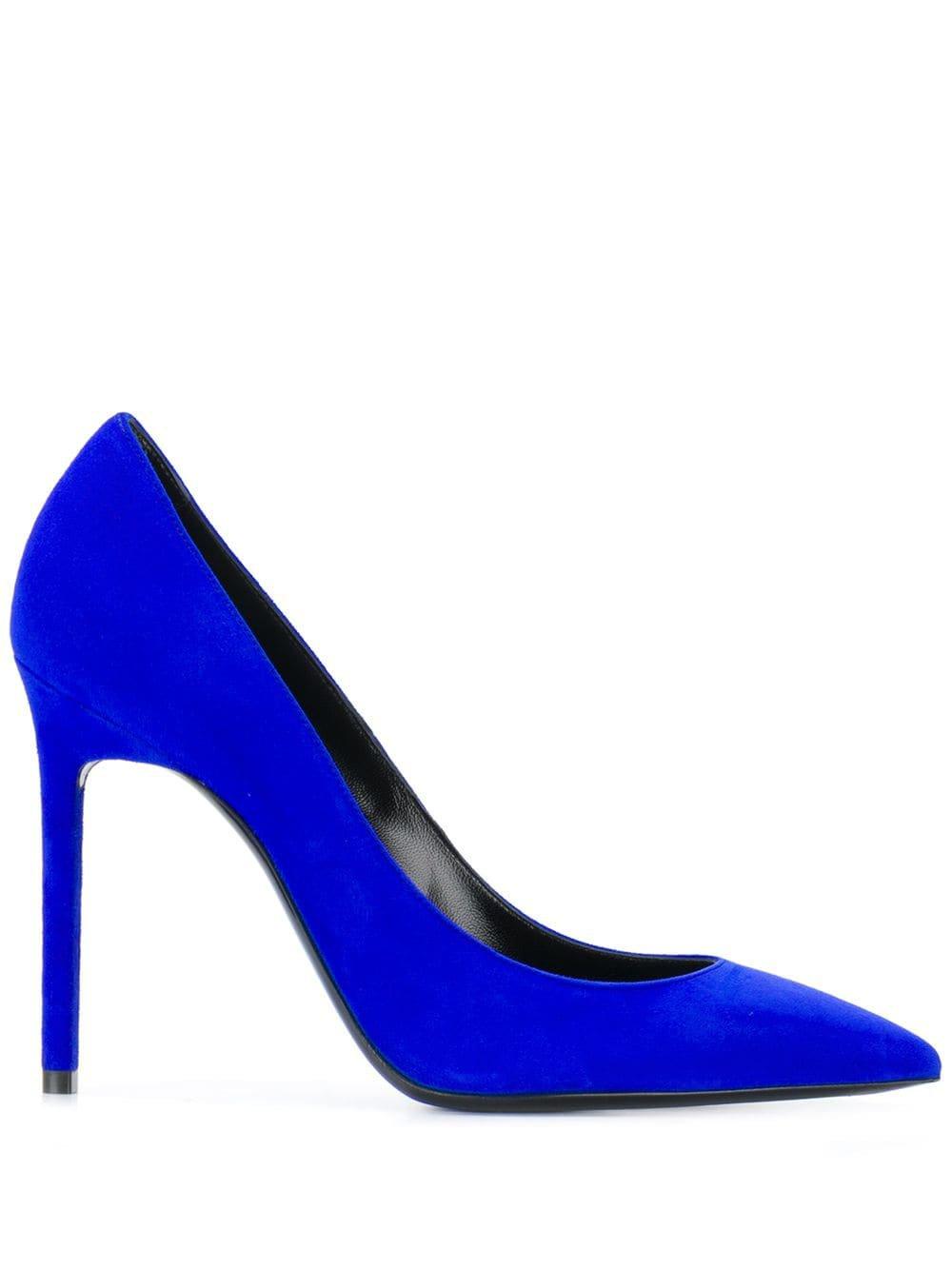 Blue Saint Laurent Zoe Pointed-Toe Pumps | Farfetch.com