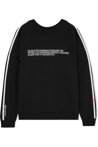 Calvin Klein Underwear | Statement 1981 embroidered cotton-blend jersey sweatshirt | NET-A-PORTER.COM