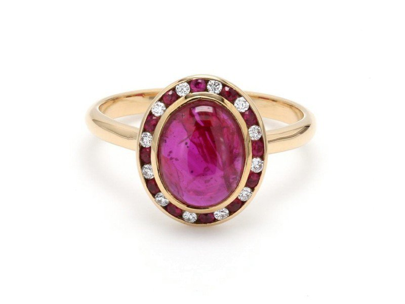 18K Yellow Gold with 2.18ct. Ruby and 0.08ct. Diamond Ring Size 6 | Buy at TrueFacet