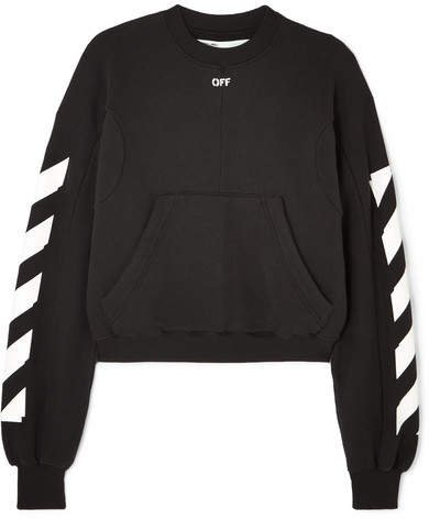 Cropped Printed Cotton-blend Jersey Sweatshirt - Black