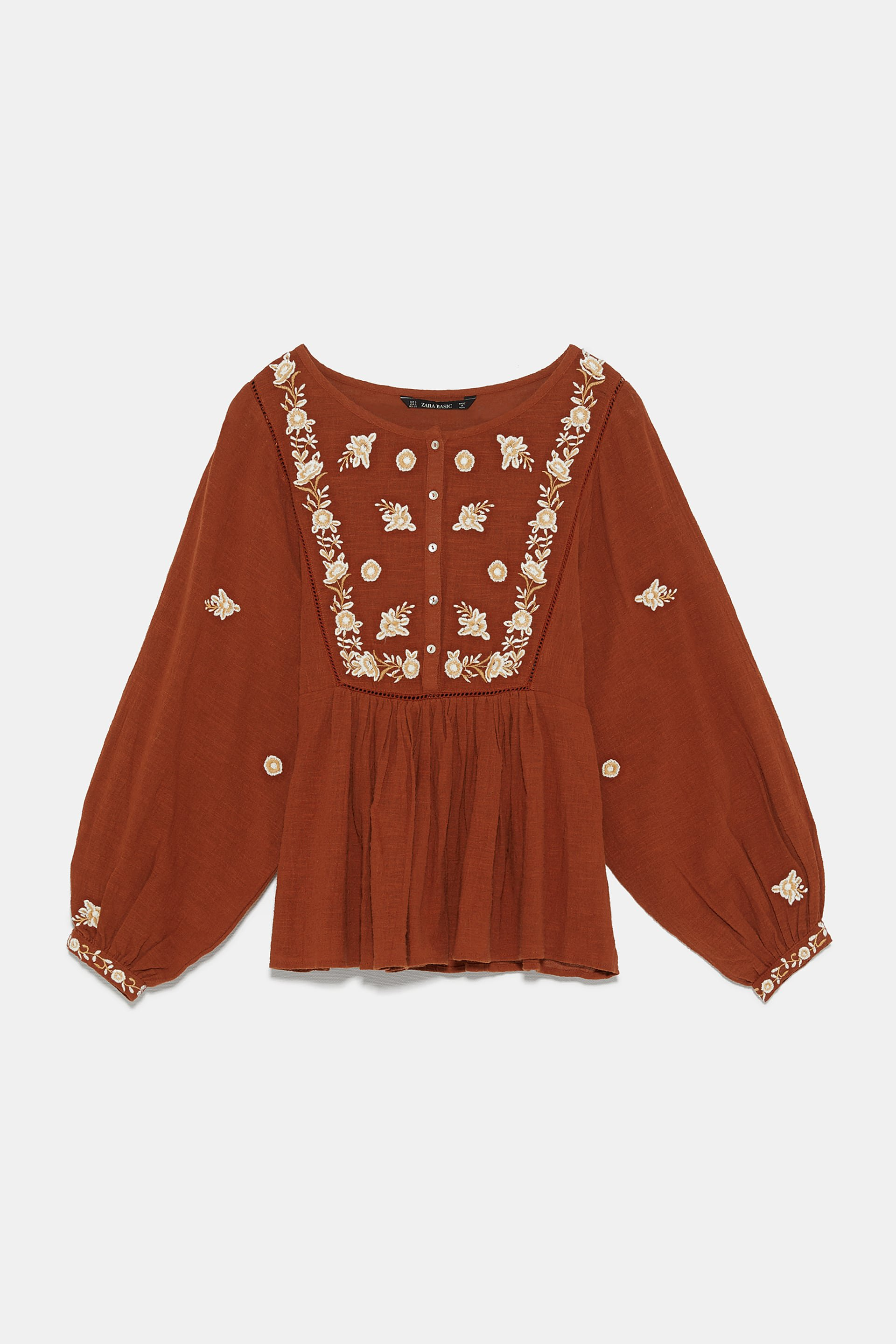 EMBROIDERED BLOUSE WITH BALLOON SLEEVES - View All-SHIRTS   BLOUSES-WOMAN   ZARA United States