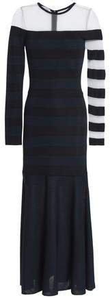 Mesh-paneled Striped Stretch-knit Midi Dress