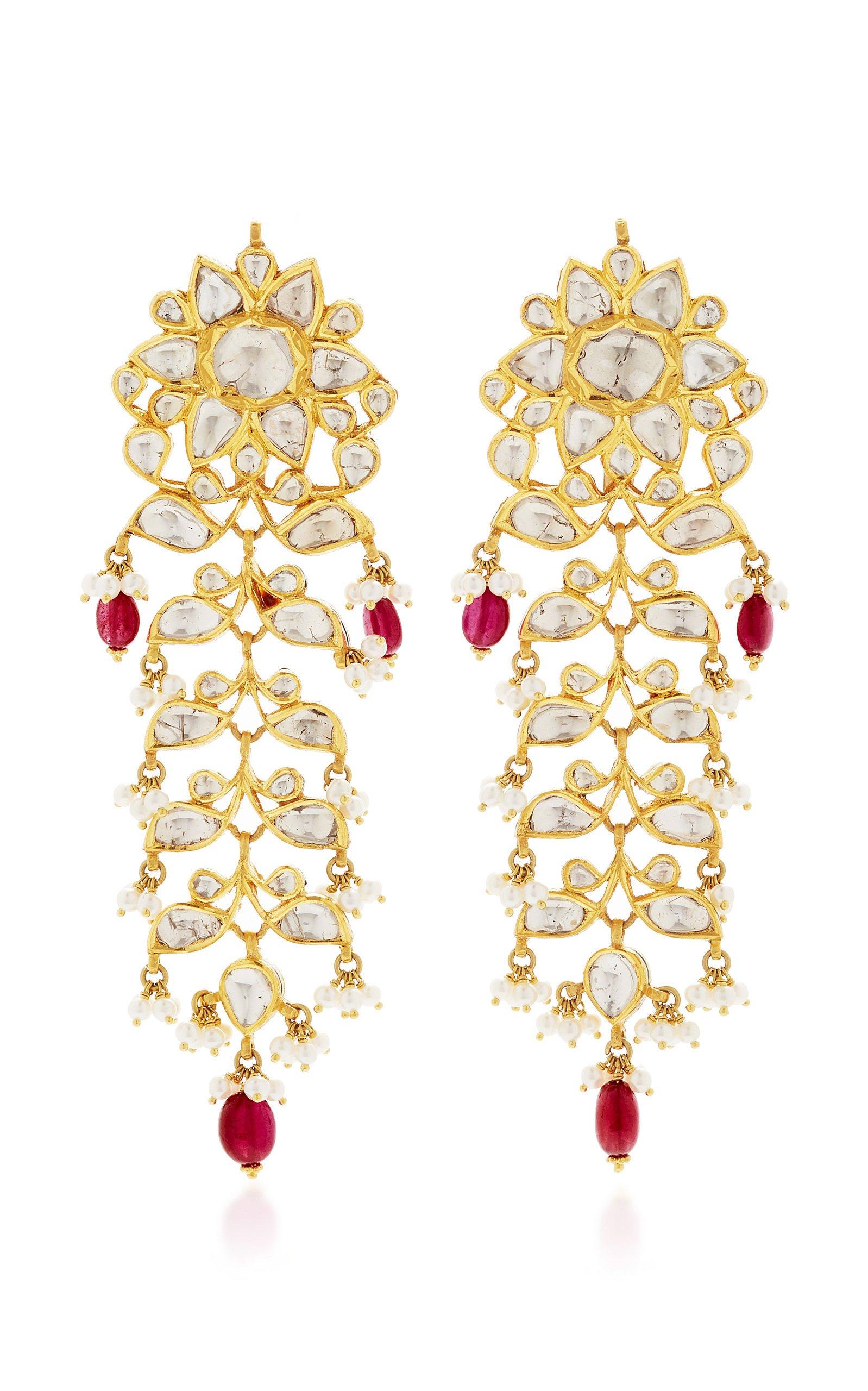 Raj 22k Gold, Ruby, and Diamond Earrings by Sanjay Kasliwal | Moda Operandi