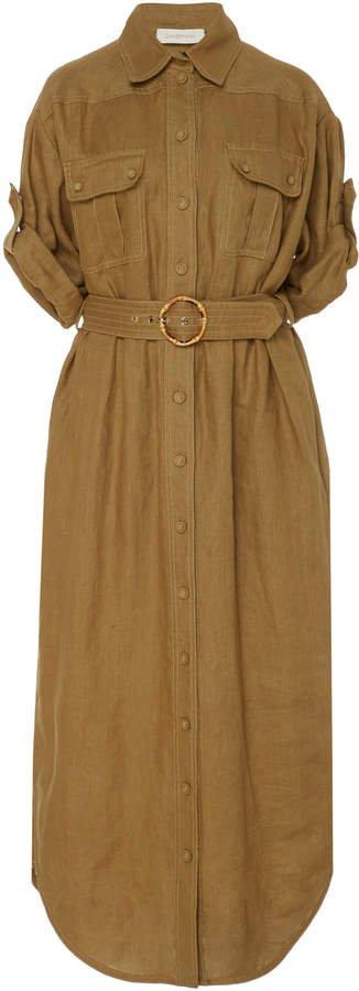 Beted Linen Midi Dress