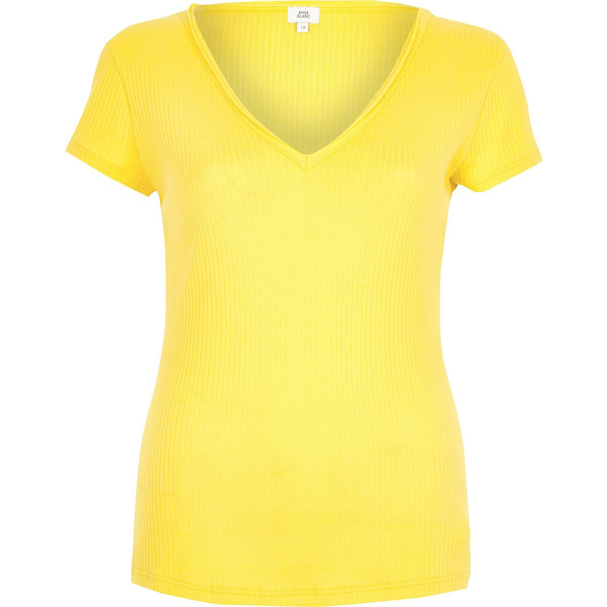 Yellow ribbed V neck T-shirt - T-Shirts - Tops - women