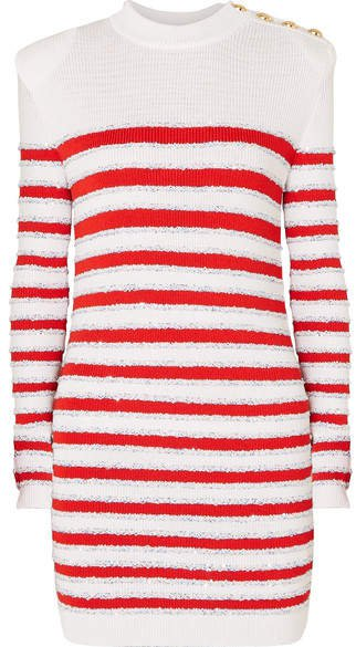 Button-embellished Sequined Striped Stretch-knit Mini Dress - White