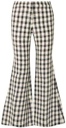 Gingham Cotton-blend Flared Pants