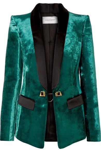 Zuhair Murad | Satin-trimmed velvet tuxedo blazer | NET-A-PORTER.COM