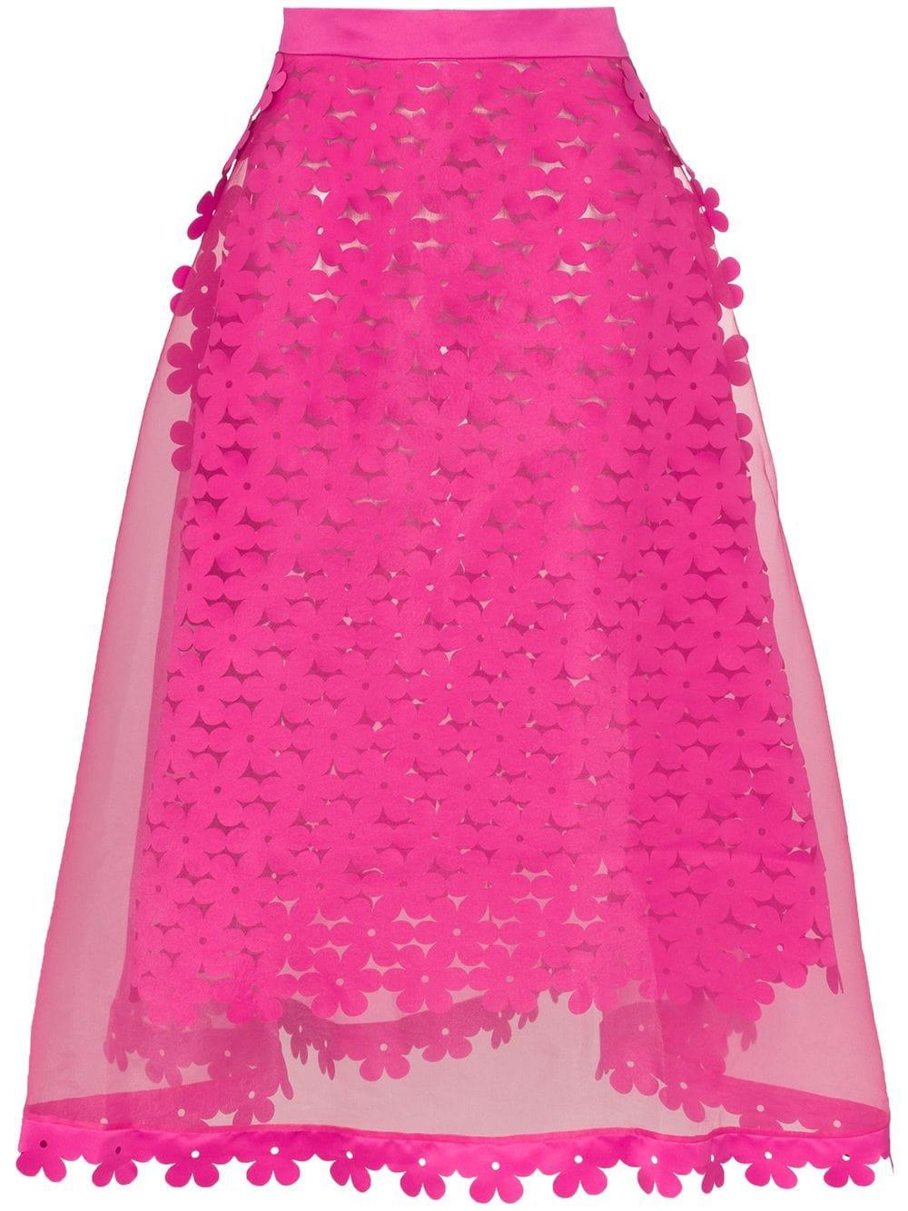 Paskal Floral Appliqué Sheer Midi Skirt - Farfetch