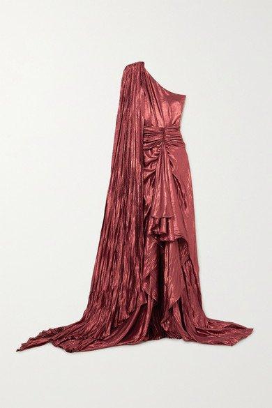 Gucci | One-shoulder asymmetric silk-blend lamé gown | NET-A-PORTER.COM
