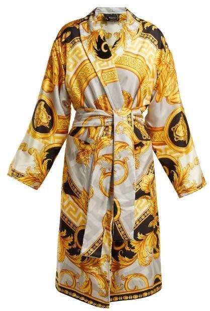 Versace La Coupe Des Dieux Baroque Print Silk Robe - Womens - Grey Gold