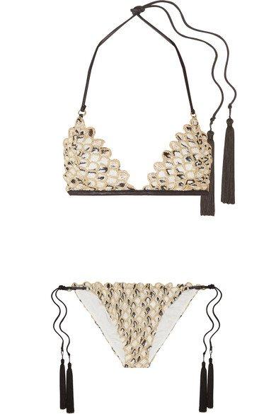 Missoni | Mare metallic crochet-knit triangle bikini | NET-A-PORTER.COM