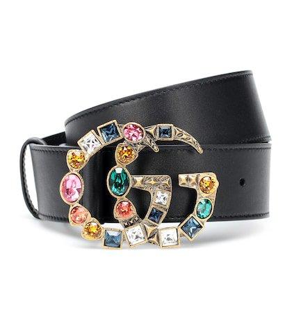 GG crystal-embellished leather belt