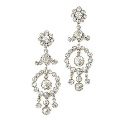 A pair of diamond drop earrings - Bentley & Skinner (Bond Street Jewellers)