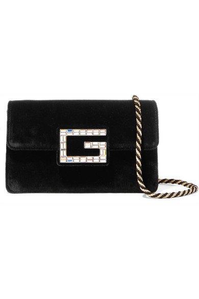 Gucci   Broadway crystal-embellished velvet shoulder bag   NET-A-PORTER.COM