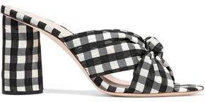 Knotted Gingham Organza Mules