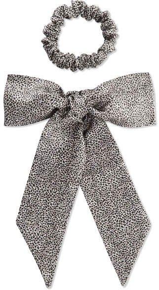 Slip - Leopard-print Silk Ribbon And Hair Tie Set - Leopard print