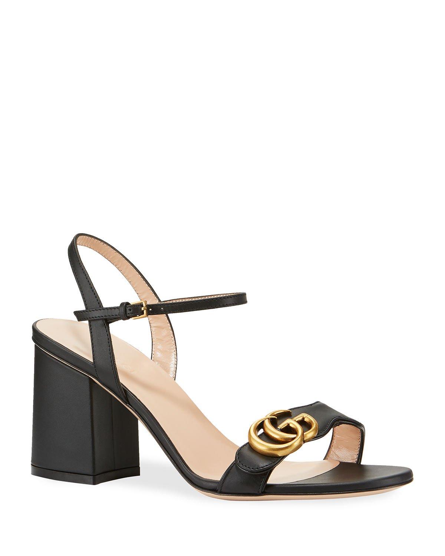 Gucci Leather GG Block-Heel Sandals   Neiman Marcus