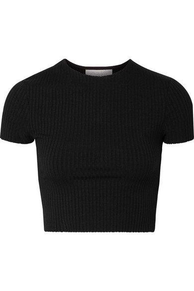 calé | Esmée cropped ribbed stretch-jersey T-shirt | NET-A-PORTER.COM