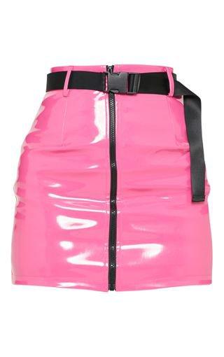 Neon Pink Vinyl Zip Front Belted Skirt   PrettyLittleThing USA
