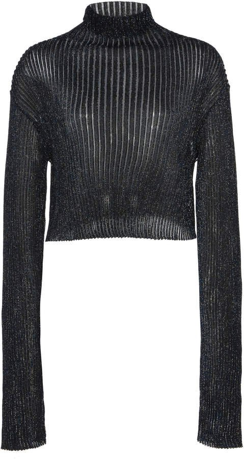Sheer Ribbed Lurex Cropped Longsleeve Top