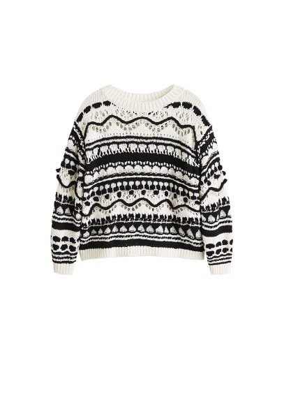 MANGO Bicolor jacquard sweater