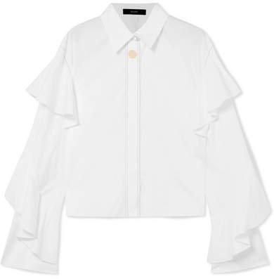 Voltaire Ruffled Cotton-poplin Shirt - White