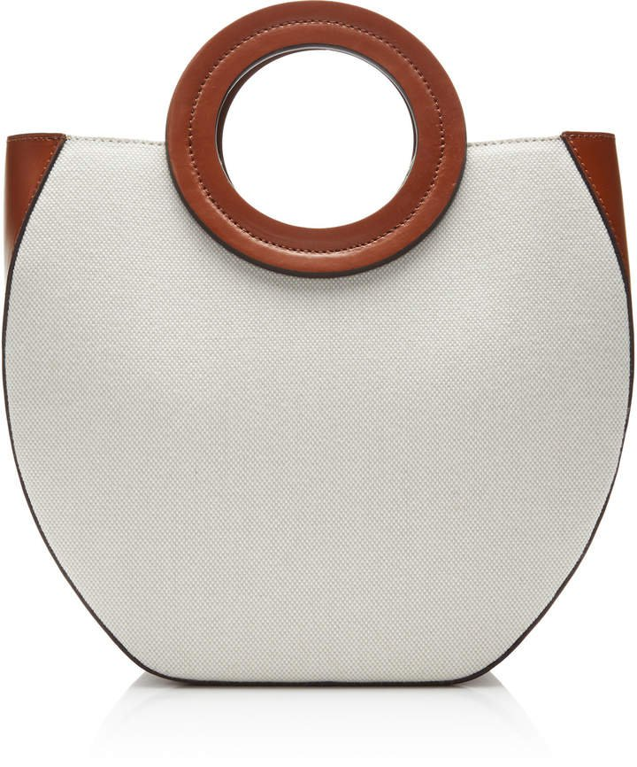 Frida Leather-Trimmed Canvas Tote