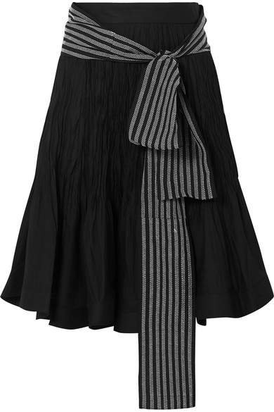 Belted Pleated Cotton-blend Midi Skirt - Black