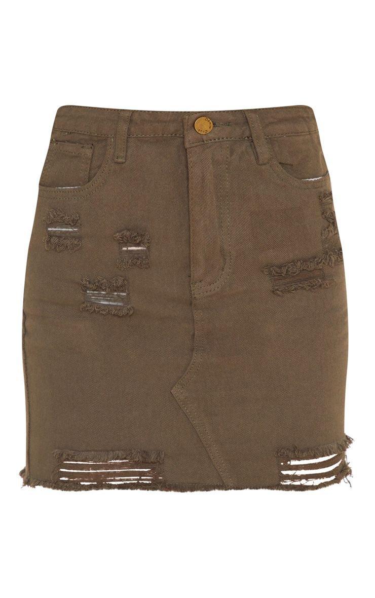 Khaki Distressed Rip Denim Mini Skirt | Denim | PrettyLittleThing