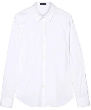 Tenia Stretch Cotton-blend Poplin Shirt - White