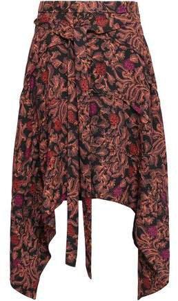 Asymmetric Printed Crepe Skirt