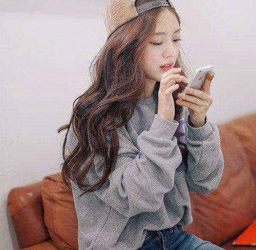 korean girls brown hair